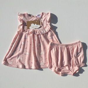 Angel Dear Pink Bunnies Ruffle Top & Bloomer 6-12M